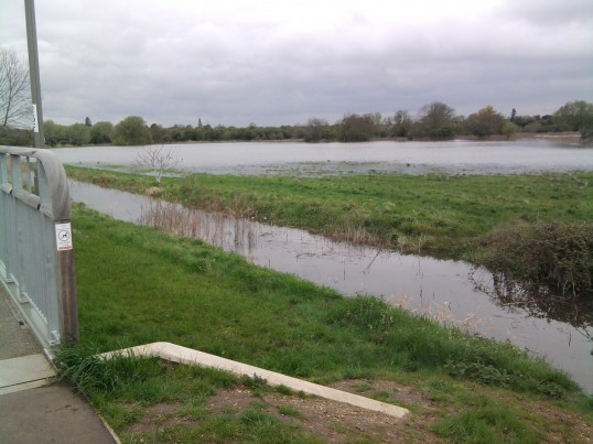View from the Eynesbury side of Willow Bridge towards the flooded fields, in May 2012