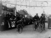 Bicycle race in St Neots Market Square as part of  Queen Victoria's Diamond Jubilee Celebrations in June 1897