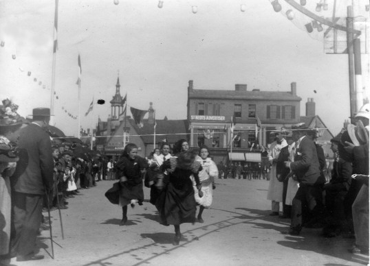 Ladies Running Race in St Neots Market Square as part of the Queen Victoria's Diamond Jubilee in June 1897