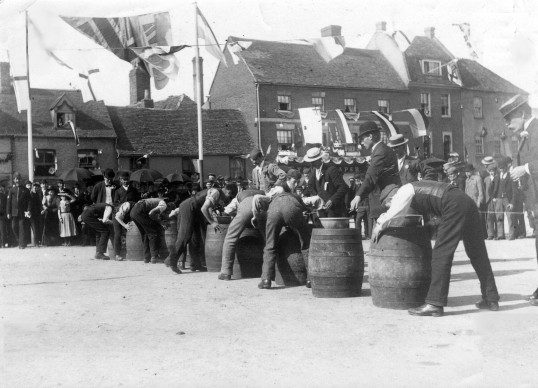 Apple dunking in St Neots Market Square as part of the Queen Victoria's Diamond Jubilee Celebrations in 1897