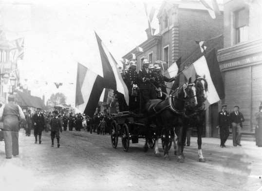 St Neots Firemen in the parade in St Neots as part of the Queen Victoria's Diamond Jubilee Celebrations in June 1897