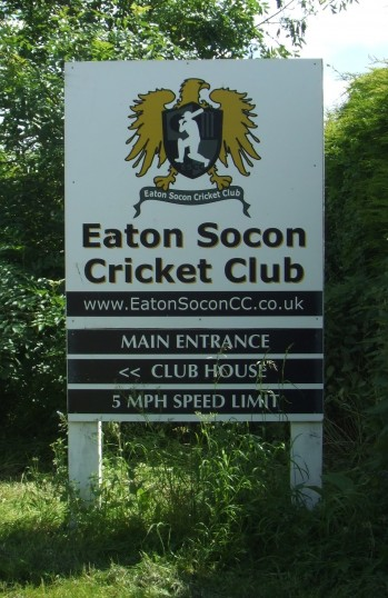 The new Eaton Socon Cricket Club sign at the entrance off Peppercorns Lane in Eaton Socon in June 2012