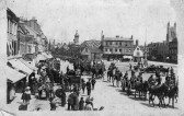 Troops passing through St Neots Market Square during the First World War (P & W Linford)