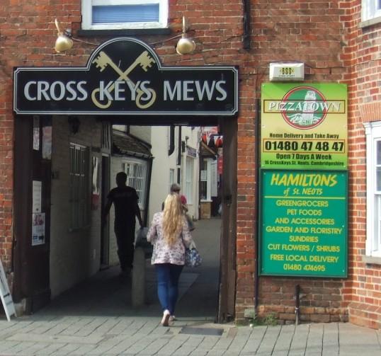 Cross Keys Mews entrance off St Neots Market Square in July 2012