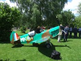A small plane at the entrance to the Eatons Community Centre on Armed Forces Day