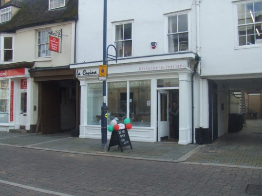 'La Cucina' Italian Restaurant in St Neots Market Square on its opening day, in October 2012