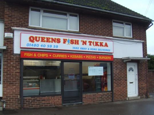 Queens Fish n'Tikka Takeaway opened on 25th November 2012 in the former 'Eatons Spice' takeaway shop in Queens Gardens, Eaton Socon
