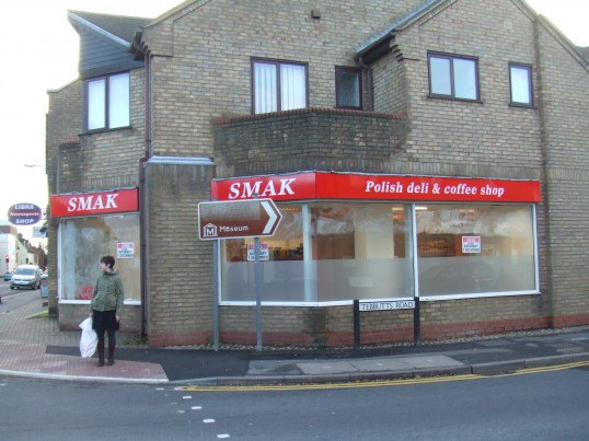 Smak Polish Deli and Coffee Shop - in the former Video shop in Huntingdon Street, St Neots, in November 2012 - about to open.