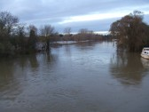 Flood water in Regatta Meadow, looking north from the Town Bridge in November 2012