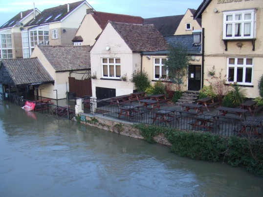 Flooding outside The Bridge House and the Priory Centre in St Neots in November 2012