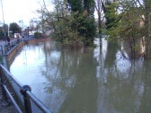 Flooding at Henbrook, view from Brook Street, St Neots in November 2012