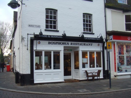 Bosphorus Turkish Restaurant, in December 2012, now open in St Neots Market Square in the former A.N. Audio shop