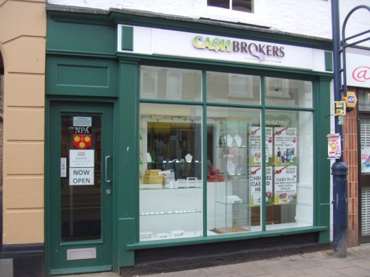 Cash Brokers shop, in December 2012 - newly opened in St Neots High Street in the former 'House of Hair' shop.