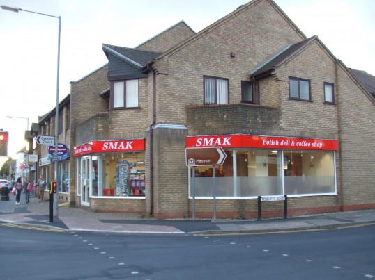 Smak Polish Deli and Coffee Shop, now open, in the former Choices Video Shop, on the corner of Huntingdon Street and Tebbutts Road, St Neots, in December 2012