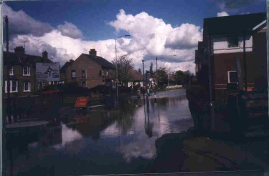 Floods at the corner of Crosshall Road and St Neots Road, Eaton Ford, around 2001.