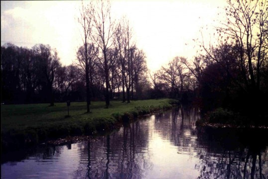 Riverside Park, Eaton Ford, view along river, south in March 1988