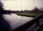 View of river and Riverside Park from the Coneygeare bridge in March 1989