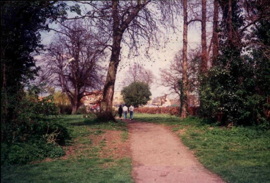Path alongside Hen Brook, Eynesbury side, in March 1988