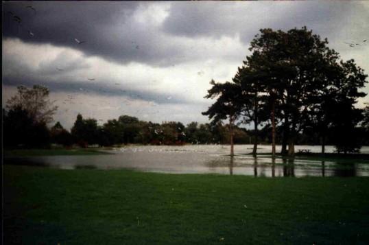 Summer floods on Riverside Park, Eaton Ford, St Neots