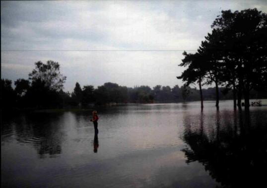 Summer floods on Riverside Park, St Neots