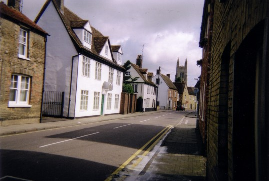 St Marys Street, Eynesbury with St Neots church tower in background, in July 2007