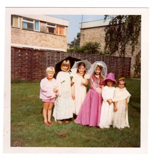 Children dressed up in Brook Road, Eaton Ford, about 1965