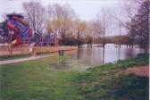 Childrens play area near the Skateboard Park flooded in Riverside Park in 2000.