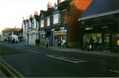 A very quiet market day in St Neots High Street with no traffic due to the closure of the High Street in December 2007