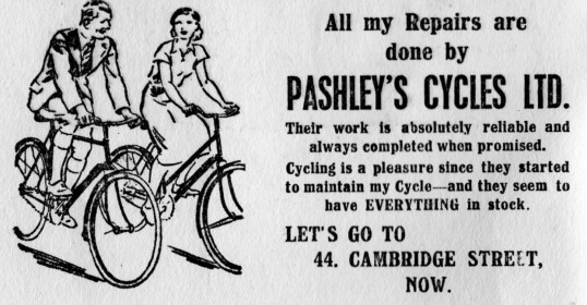 Pashley's Cycles Ltd advert in St Neots St Marys Parish magazine, March 1957
