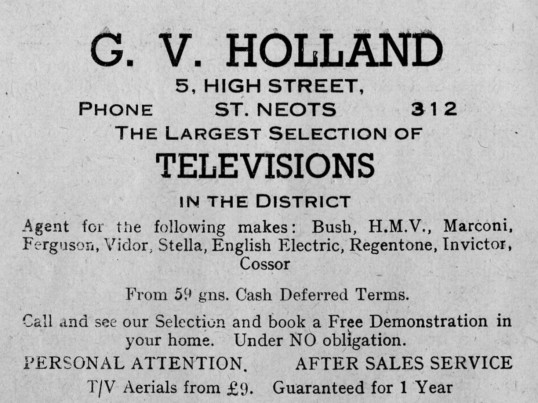 Holland's advert, St Marys, St Neots Parish Magazine, March 1957