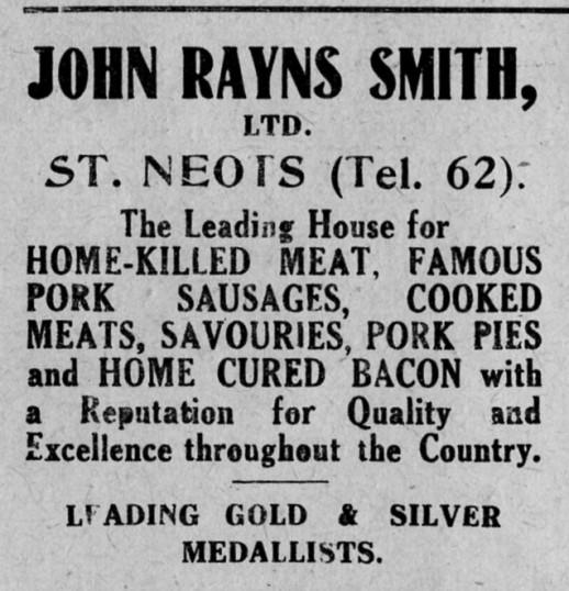 John Rayns Smith Butcher's advert, St Marys, St Neots Parish Magazine, March 1957