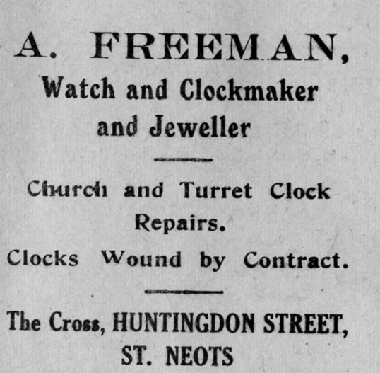 Freeman Jeweller's advert, St Marys, St Neots Parish Magazine, March 1957