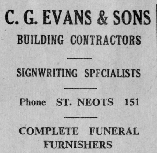Evans advert, St Marys, St Neots Parish Magazine, March 1957