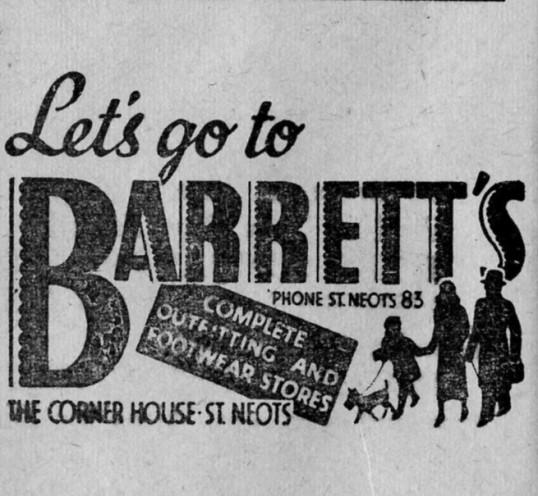 Barrett's advert, St Marys St Neots Parish Magazine, March 1957
