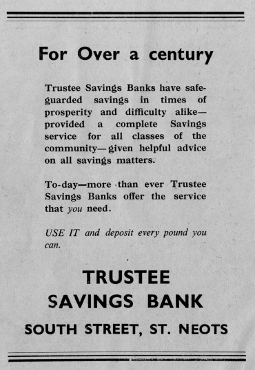 Trustee Savings Bank advert, St Marys St Neots Parish Magazine, in March 1957