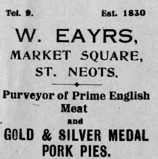 Eayrs butchers advert, St Marys St Neots Parish Magazine, March 1957