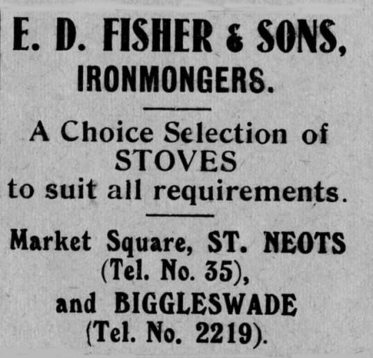Fisher & Son's advert, St Marys, St Neots Parish Magazine, March 1957