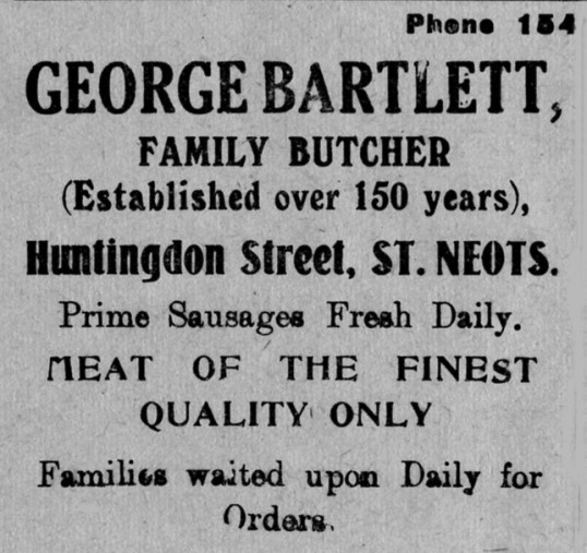 Bartlett's Butchers advert, St Marys, St Neots Parish Magazine, March 1957