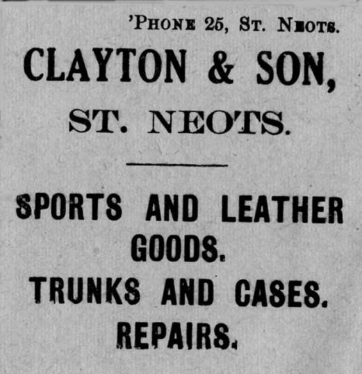Clayton & Son's advert, St Marys St Neots Parish Magazine, March 1957
