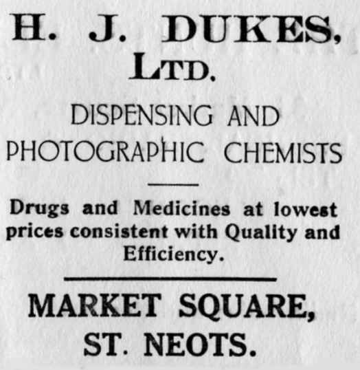 Dukes Chemist advert, St Marys St Neots Parish Magazine, March 1957