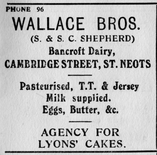 Wallace Bros Dairy advert, St Marys, St Neots Parish Magazine, March 1957