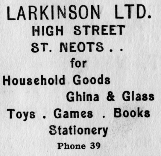 Larkinson's advert, St Marys St Neots Parish Magazine, March 1957
