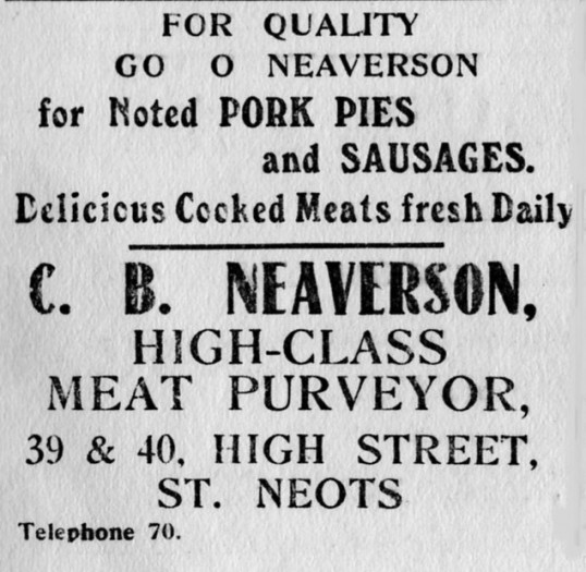 Neaverson's advert, St Marys St Neots Parish Magazine, March 1957