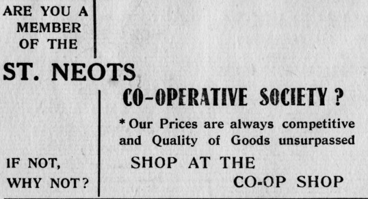 St Neots Co-Op advert, St Marys St Neots Parish Magazine, March 1957