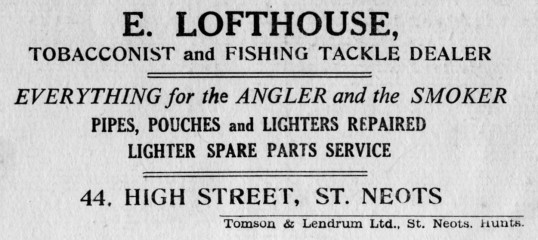 Lofthouse fisherman's advert, St Marys St Neots Parish Magazine, March 1957