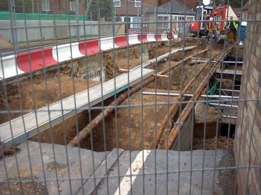 Rebuilding of Eynesbury bridge over Hen Brook, in 2003. Photo P Ibbett