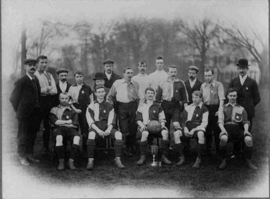 St Neots Football Team. Winner of Fellowes Senior Football Challenge Cup 1901-1902.