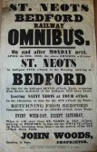 Poster advertising weekly omnibus service from St Neots to Bedford rail station, in April 1850