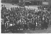 Group outing (to the seaside possibly) at St. Neots railway station, in the 1920s