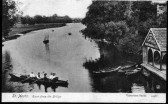 River Ouse from St Neots Bridge looking North, landing stage and boats, around 1900